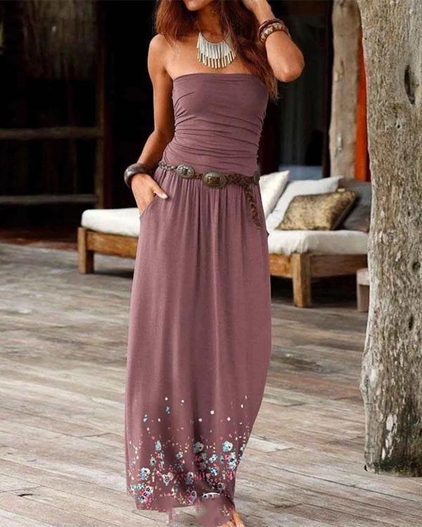 Strapless Boho Print Dresses