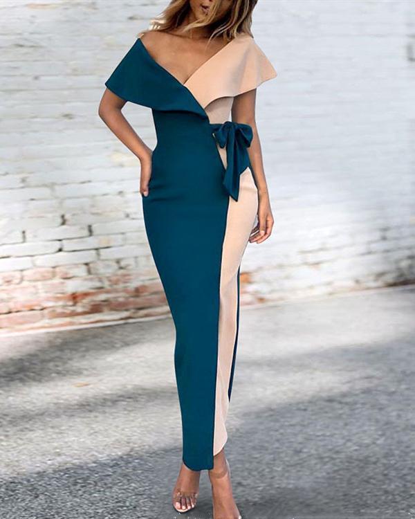 Sexy Short Sleeve Deep V Stitching Lace Maxi Dress