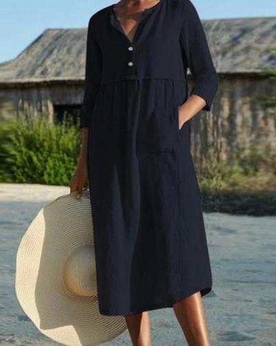 Cotton And Linen Pocket 3/4 Sleeve Dress