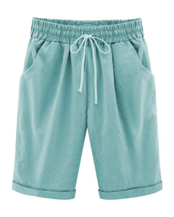 Summer Shorts Lace Up Elastic Waistband Loose Solid Pants