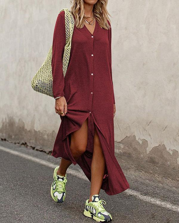 V-Neck Button Embellishment Solid Color Long Sleeve Dress