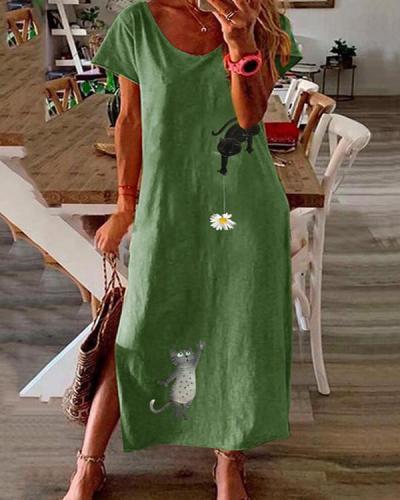 Plus Size Cartoon Cat Print Split Maxi Dress