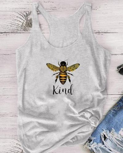 'Kind' Letter Print Summer Casual Tanks