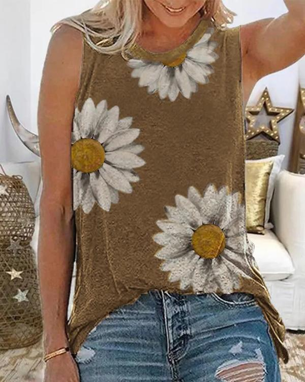 Plus size Floral Casual Sleeveless Shirts & Tops