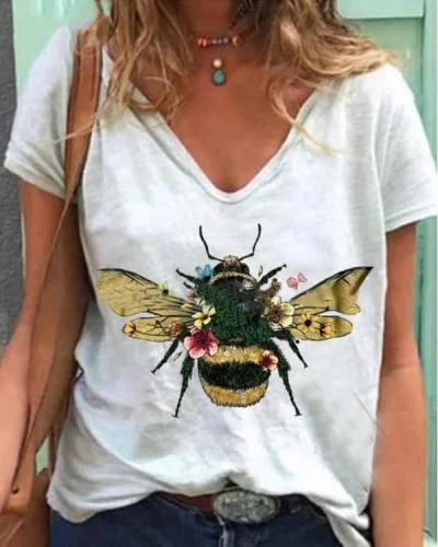 Vintage Casual Plus Size Bee Printed Shirts Tops