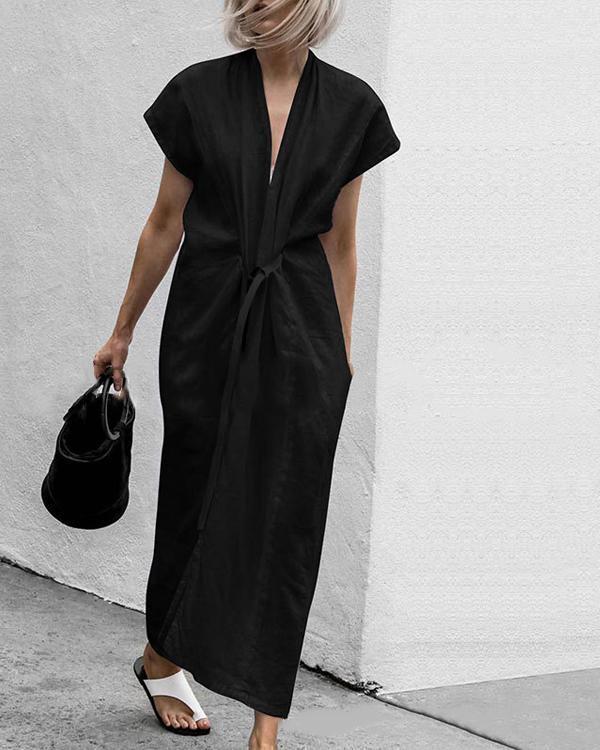 Summer Solid V-Neck Split With Belt Plus Size Dress