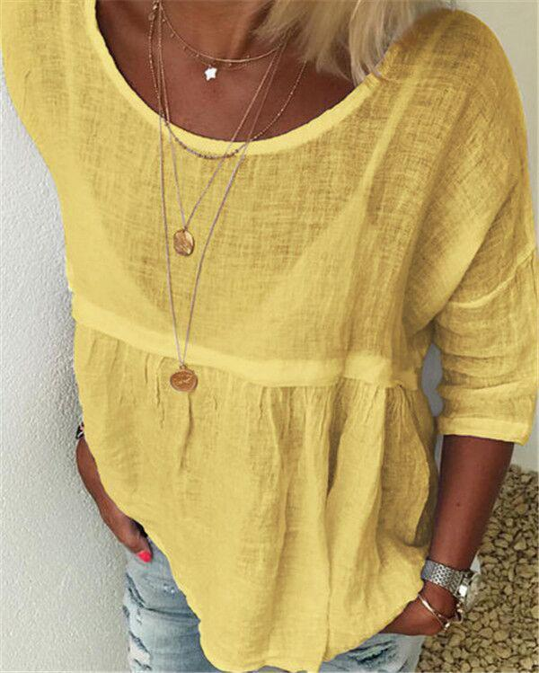 Solid Women Casual Crew Neck Holiday Tops