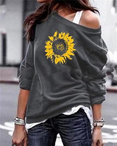 Sunflower One Shoulder Stylish Women Daily Fashion Fall Tops