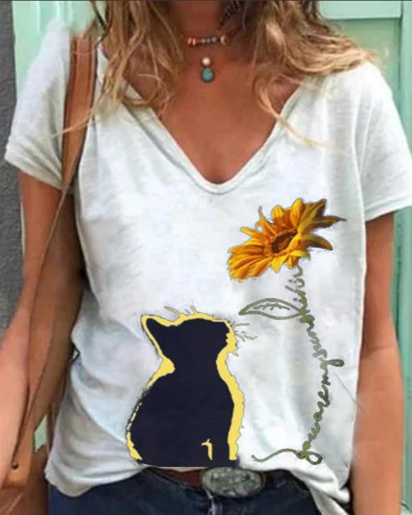 Vintage Casual Plus Size Printed Tee Shirts Tops