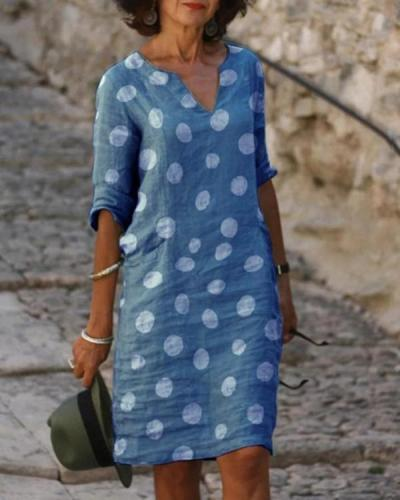 Casual Polka Dot 1/2 Sleeves Dresses