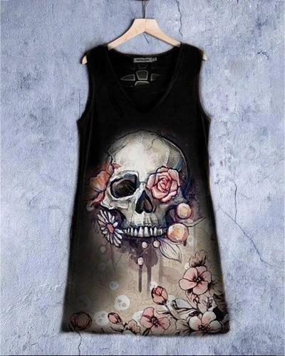 Skull Floral Print Sleeveless Casual Dress