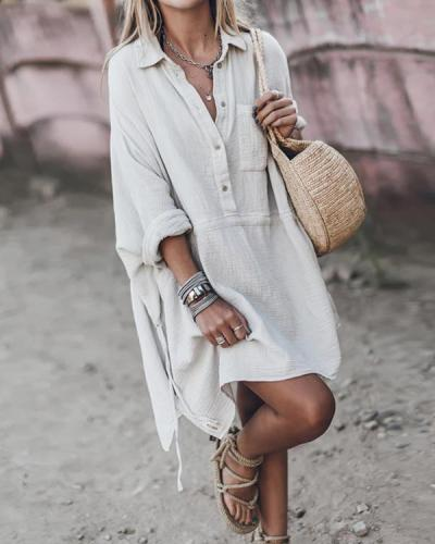 Casual Loose Cotton And Linen V-neck Dress