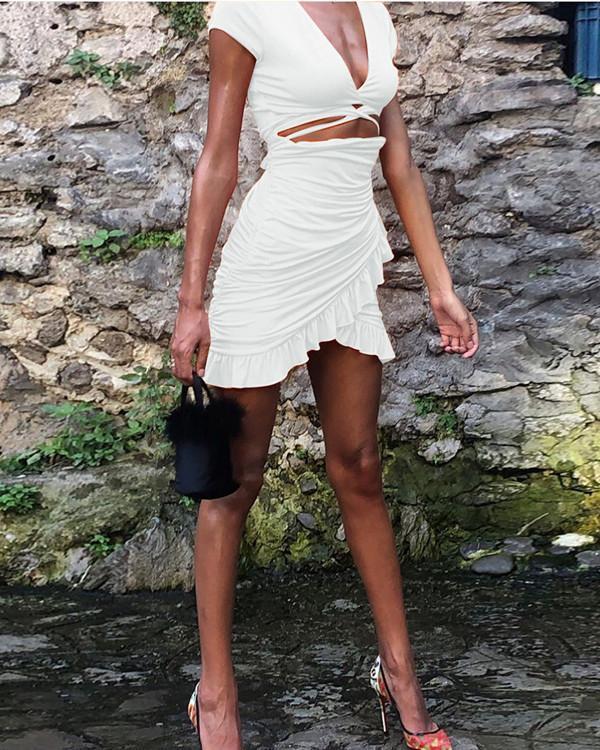 Sexy Ruffled Bag Hip Ladies Dress