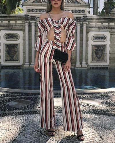 SEXY OFF SHOULDER MIDRIFF BARING STRIPE SUIT PANTS