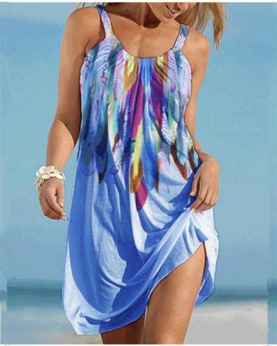 Print Sleeveless Shift Knee Length Casual/Vacation Dresses
