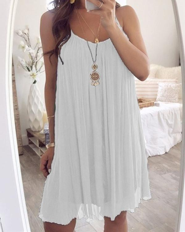 Round Neck Sleeveless Solid Color Dress