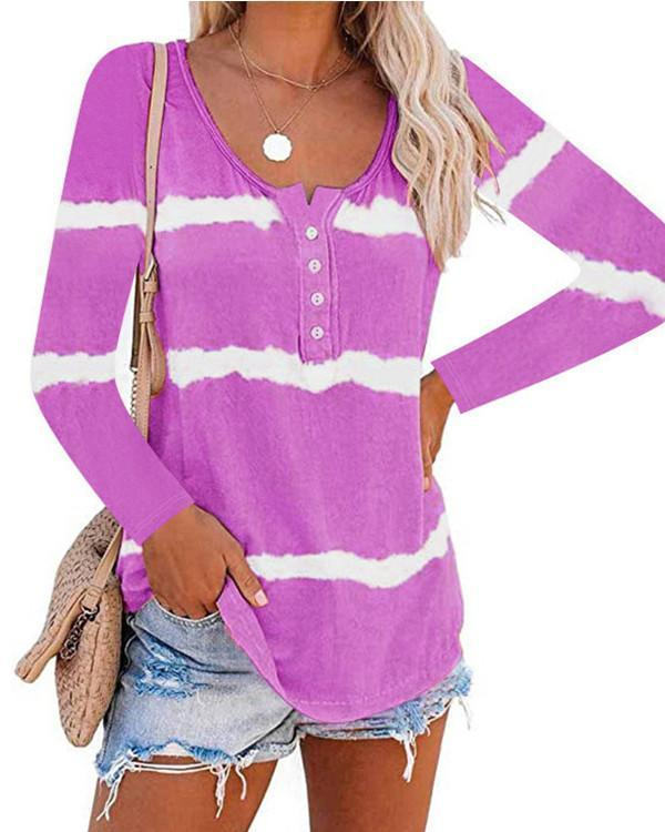 Women Long Sleeve Scoop Neck Striped Casual Top