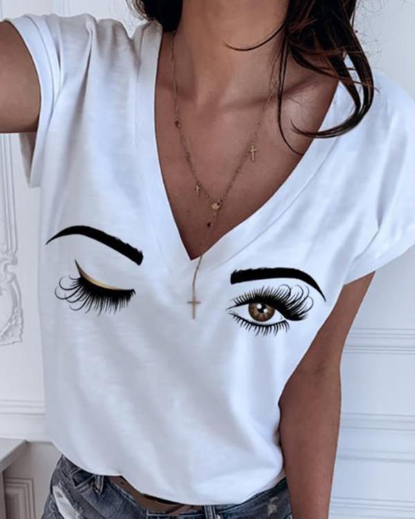 Short Sleeve V Neck Basic Print Tee Shirts