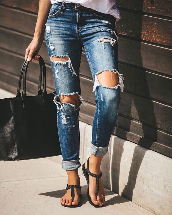 Blue Casual Denim Pockets Pants