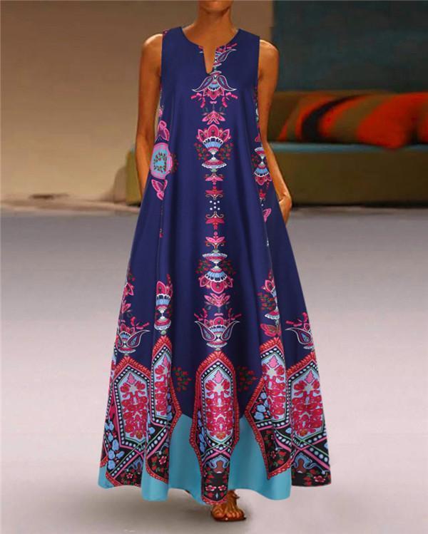 Sleeveless V Neck Holiday Daily Fashion Maxi Dresses