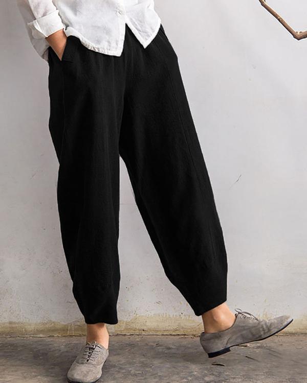 Solid Casual Pocket Elastic High Waist Harem Pants