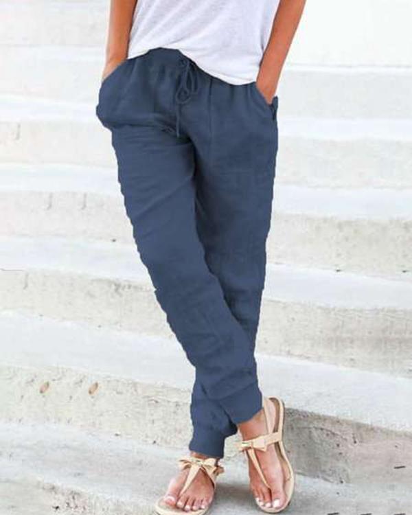 Solid Casual Pocket Elastic Waist Harem Pants