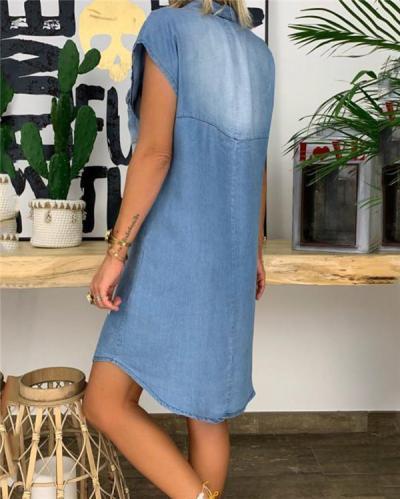V Neck Solid Denim Skirt Holiday Dresses Shift Daytime Mini Dresss