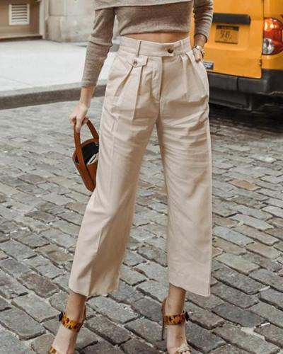 Solid Color Loose Casual Trousers Pants
