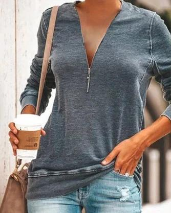 Solid Zipper V Neck Fall Casual Shirts & Tops