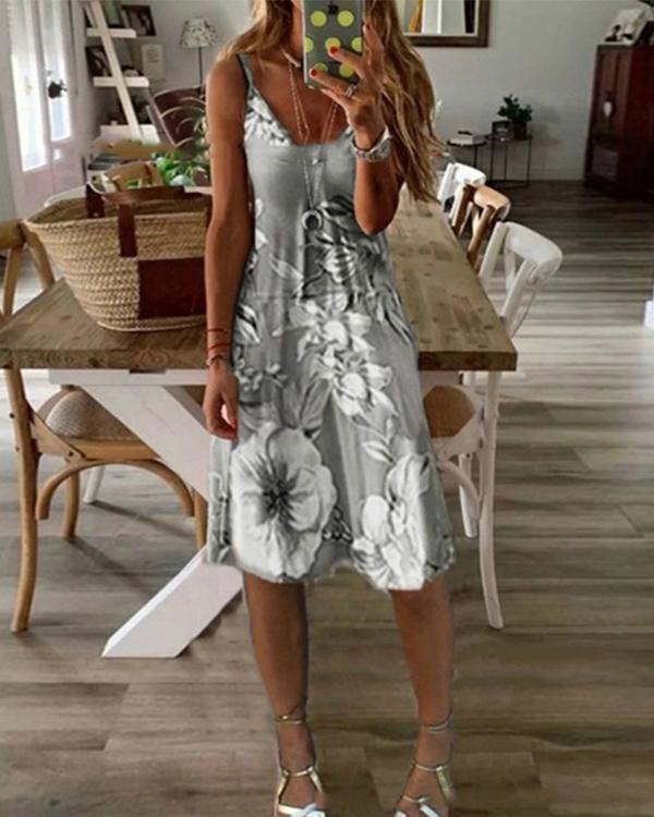 Women's Sundress Knee Length Dress Sleeveless Floral Print Summer Dress