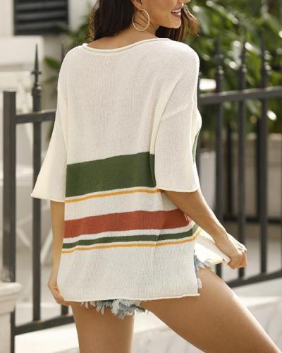 Flodress Striped Knitting Flimsy Top