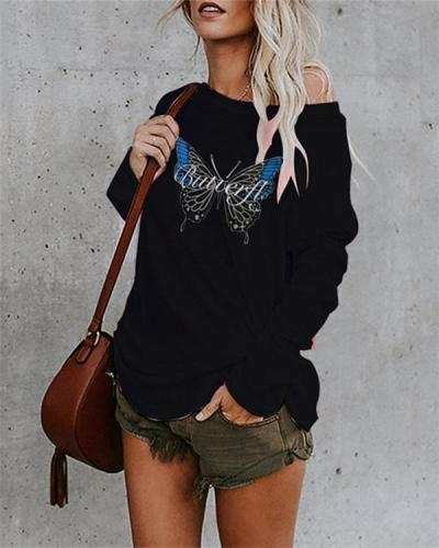 Casual Cotton-Blend Shift Butterfly Print Shirts & Tops