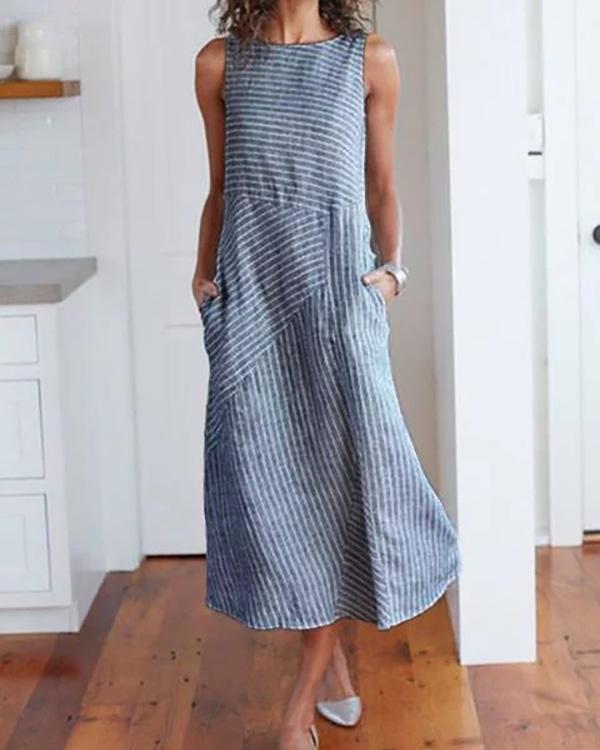 Women Crew Neck Dresses Shift Daily Striped Dresses