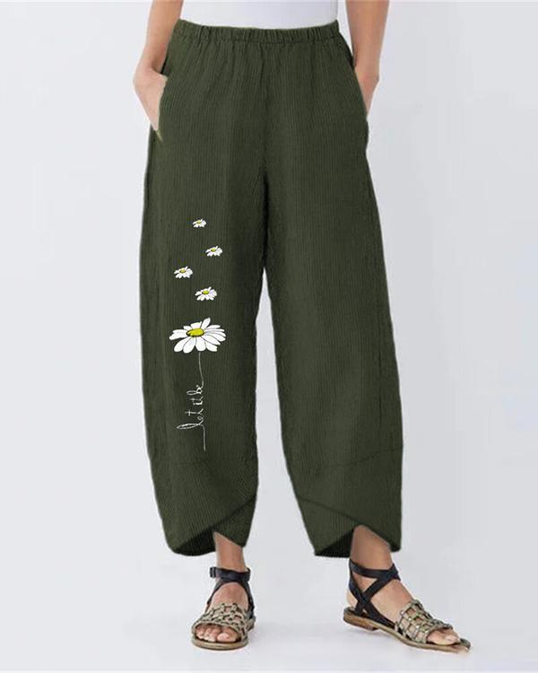 Vintage Daisy Printed Plus Size Casual Women Pants