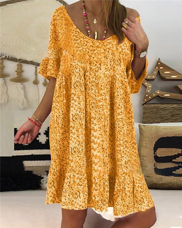 Casual Floral Printed Crew Neck Short Sleeve Plus Size Dress