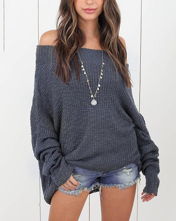 Women Long Sleeve Shoulder Solid Sweater Tops