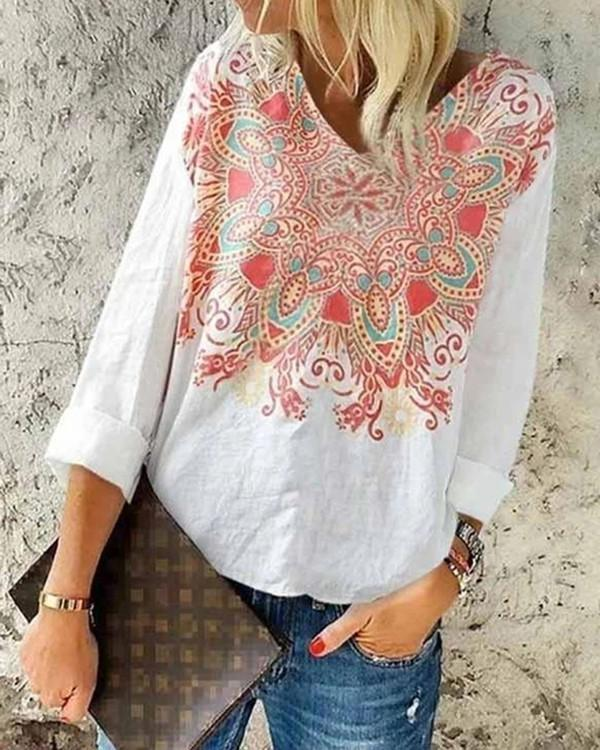 Women Long Sleeve V-neck Floral Printed Top