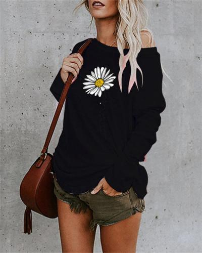 Floral Printed Cotton-Blend Long Sleeve Casual Shirts & Tops