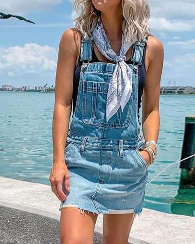 Women's Casual Holiday Ripped Denim Romper Mini Dress