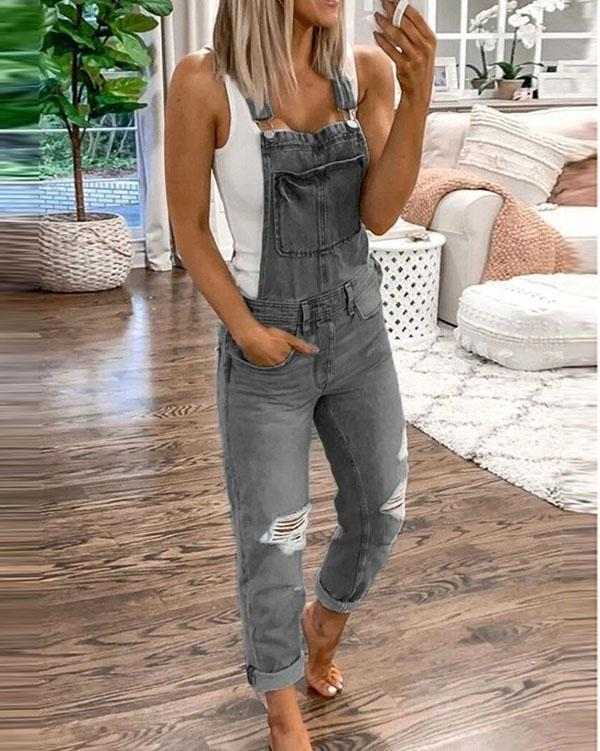 2020 Women's Casual Holiday Ripped Denim Jumpsuit