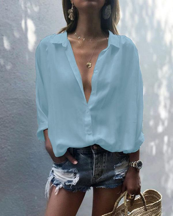 Women's Long Sleeve V Neck Shirt Turndown Collar Chiffon Plain Loose Blouses