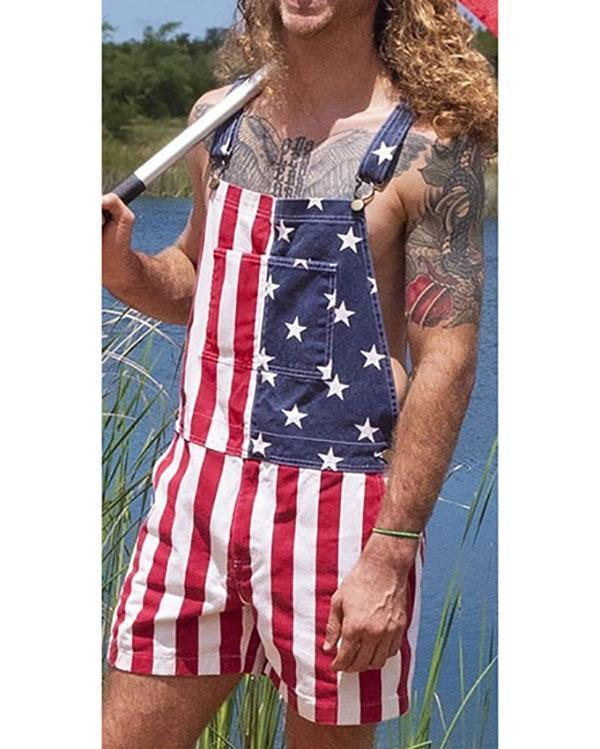 American Independence Day Flag Overalls Couples Jumpsuit