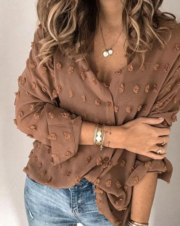 Buttons Down Patchwork Shirt Blouse