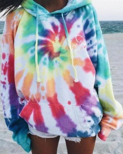 Casual Ferris Wheel Tie Dye Hoodie Long Sleeve Tops