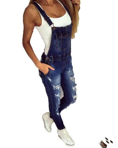 2020 Women's Casual Holiday Hollow Out Denim Jumpsuit
