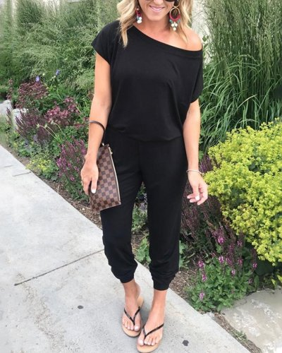Solid Color One Shoulder Jumpsuits