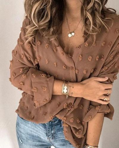 Buttons Down Patchwork Shirt Blouse