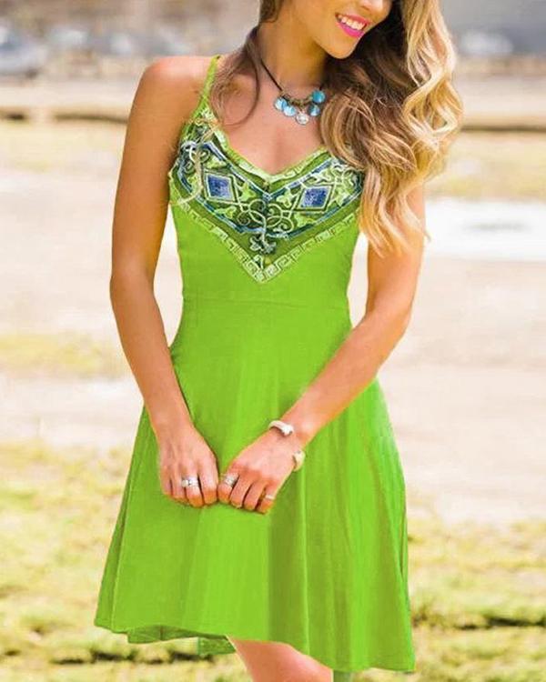 Vintage Sleeveless Boho Floral Geometric Plus Size Casual Dresses