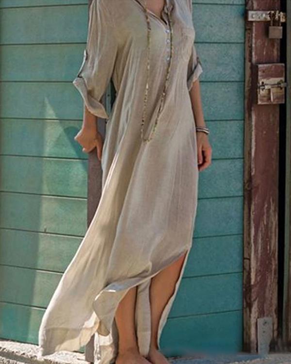 Women Casual V-neck Maxi Dress