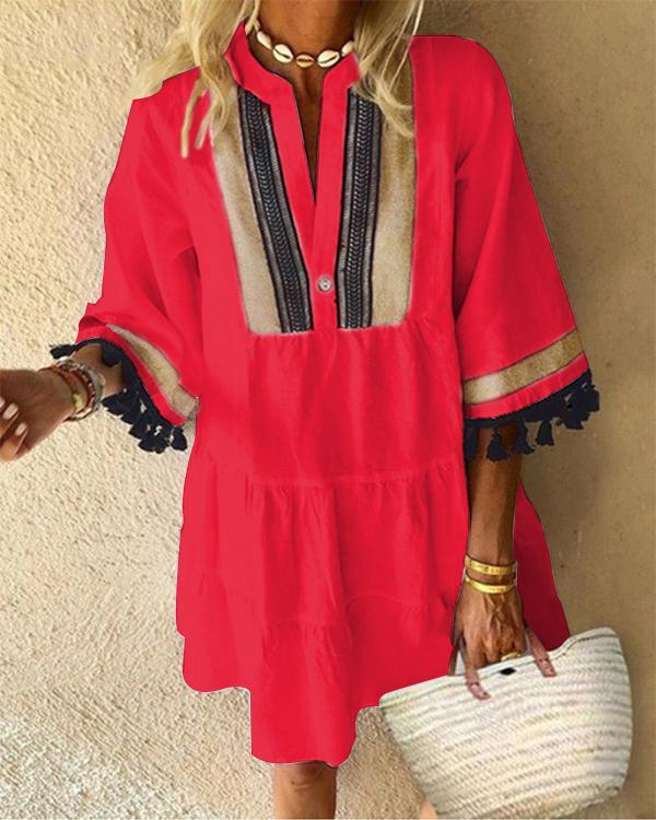 Contrast Color Tassel Casual Dress